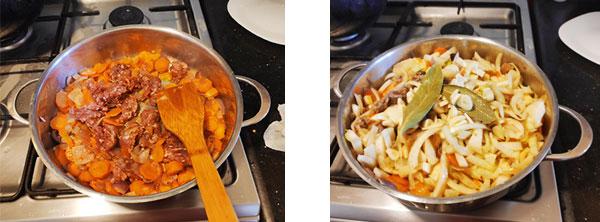 Ajouter la viande hachée et le fenouil émincé