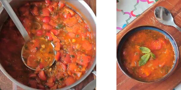 Servir la soupe marocaine traditionnellement