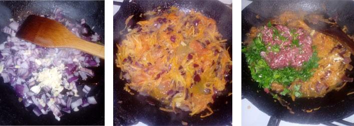 La farce pour le roulé de pomme de terre et viande hachée