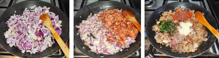 Préparer la farce du gratin d'aubergine