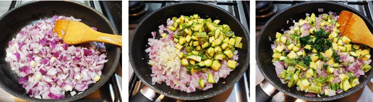 Cuire les légumes du gratin de courgettes