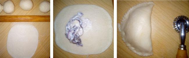 Farcir la pâte des chaussons aux oignons