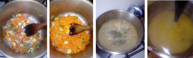 Cuisson de la soupe de lentilles corail