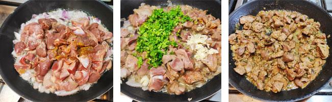 La cuisson des abats de poulet à la poêle