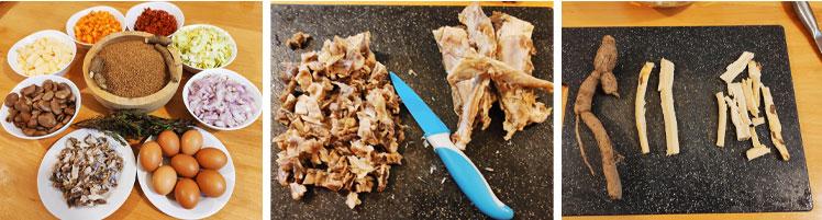 La préparation des ingrédients du couscous à la vapeur 2