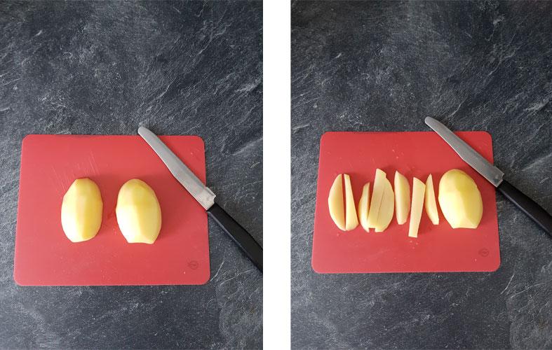 Couper les les pommes de terre en tronçon