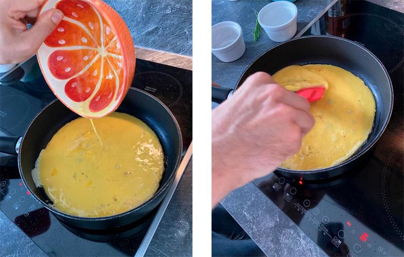 Remuer les œufs avec une spatule