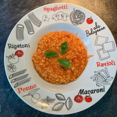 Risotto à la tomate, basilic et parmesan