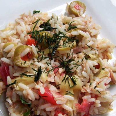 Salade de riz composée BIO, aux champignons et thon