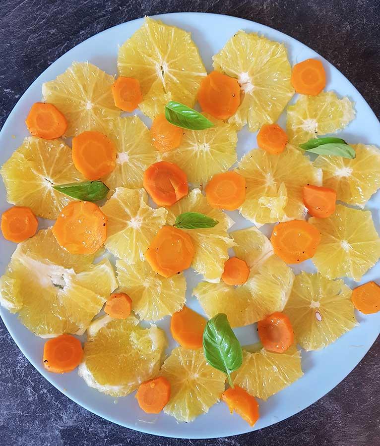 Salade de carottes cuites et orange