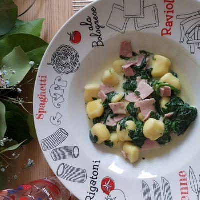 Gnocchis aux épinards et jambon