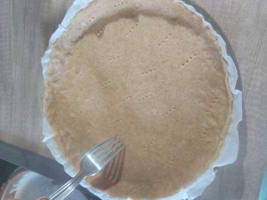 Placez dans un moule à tarte et faites des trous