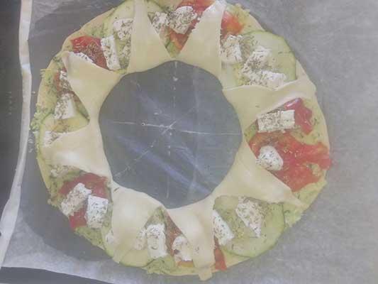 Rabattez les rebords au centre de la pizza